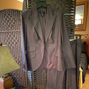 Brown with white pint striped jacket and pants 4